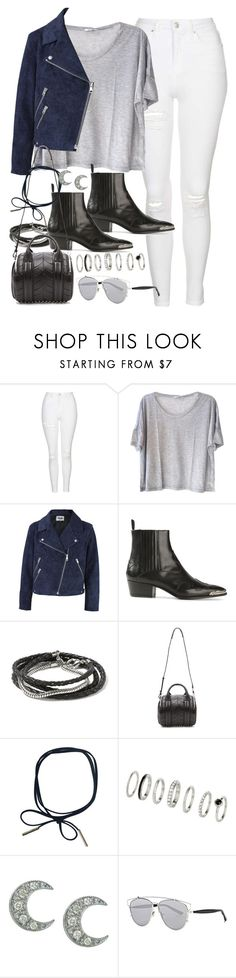 """""""Outfit with white jeans"""" by ferned ❤ liked on Polyvore featuring Topshop, Clu, Acne Studios, Yves Saint Laurent, Banana Republic, Alexander Wang, Sydney Evan and Christian Dior"""