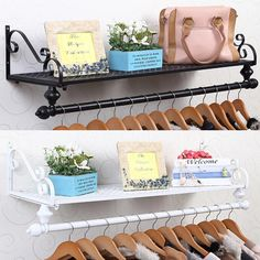 Shabby Chic Wall Mounted Clothes Garment Rail Hanging Rack Shop Display Metal | eBay