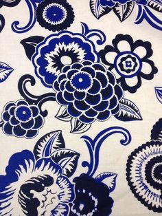 276a38f681 RL200 Ralph Lauren Home Large Bold Blue White Flowers Hvy WT Cotton Fabric