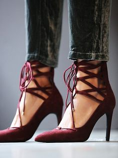 Burgundy hierro heels by Jeffrey Campbell for Free People.