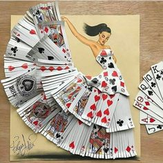 Drawing and dress made from deck of cards by  edgar_artis. Shared by @kitslam