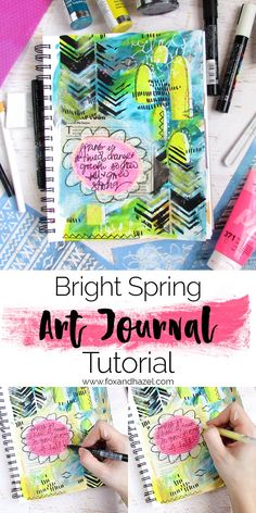 I'm back with a super fun and happy art journal tutorial for you! This page comes together really quick and really plays with using lots of mediums to create texture.