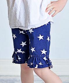Love this Navy & White Star Ruffle Shorts - Infant, Toddler & Girls on #zulily! #zulilyfinds