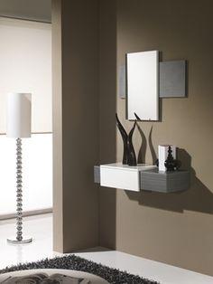 meuble dentre moderne miroir marzio coloris blanc et gris cendr