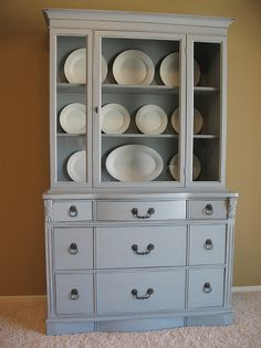 Dalloway Place : Antique Hutch with French Gray Blue Distressed Finish