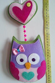 Dia o Noche Búho de Fieltro hecho a mano / Day or night Handmade felt ornament owl. Ideal Baby Gift decor