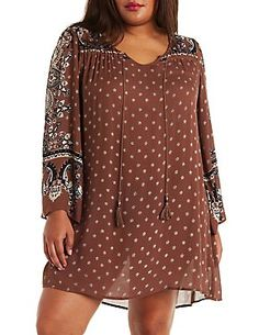 Plus Size Boho Print Shift Dress: Charlotte Russe