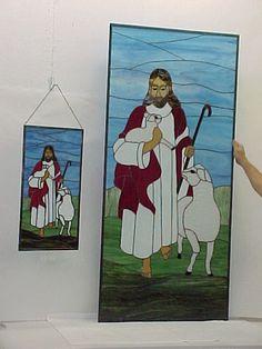 Jesus the Good Shepherd - Large & Small panels - Bethel Chapel Church, Poplar Bluff, MO 2005 & 2008, by Sandy (Johnson) Burnett, (formerly Glass with a MIssion, Art-Attack-Studios,  GlassMoose.com)