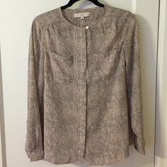 light pink snake skin print blouse Light pink and black snake print blouse from Loft. Size Small. Perfect condition. Button up with all buttons except top button covered. Buttons on bottom of sleeve. Pockets on chest. The print is hard to photograph, but is so pretty in person. LOFT Tops Blouses