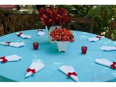 decoração de casamento vermelho e azul