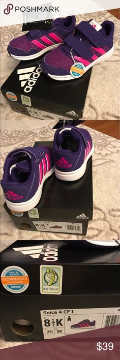 Adidas Girls Traning Sneaker 8 1/2 purple pink NWT Brand New in Box Toddler Girl adidas Athlectic Training shoes.  Model is Snice 4 CF I.   Recommended by Vice Chairman Prof. Dr. Walther. FIFA Medical Center of Excellence Munich.  Lightweight , comfortable and breathable with Ortholite foam insole for extra cushion on the feet. Rubber Sole.  U.S Size 8 1/2 K  U.K Size 8 K F Size 25 1/2   Pet/ Smoke FREE Home! Thank you for your interest💐 Shoes Sneakers