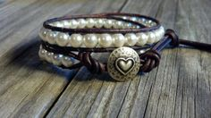 Glass Pearl Bracelet, Double Leather Wrap, Shabby Chic, Wedding, Bridal