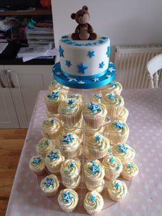 Star themed boys Christening cake & cupcake tower