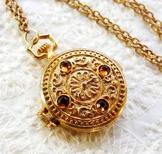 Vintage Perfume Locket Necklace, Topaz Rhinestones, Pocket Watch Pendant, Gold Repousse, 1970s Victorian Steampunk Jewelry