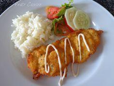 Prato Caseiro: Panados de bifes de frango com arroz branco e sala...