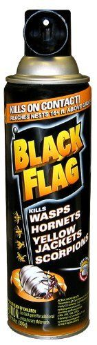 Black Flag 61119 Wasp, Hornet, Yellow Jacket and Scorpion Killer, 14-Ounce by Blackflag. $9.06. Reaches nests 16-feet above the ground with a powerful jet spray. Coats nests to keep insects from escaping before they die for ultimate confidence. Eliminates nests of wasps, hornets, and yellow jackets in your yard. Kills on contact. Kills the entire nest. Kills on contact. Coat nests to keep insects from escaping before they die for ultimate confidence. Reaches nests ...
