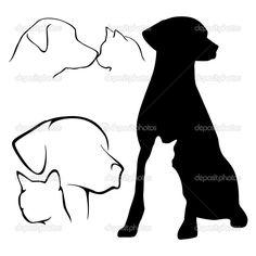 Descargar - Silueta perro y gato — Ilustración de stock #8372847