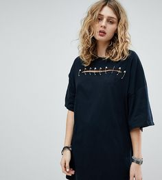 Milk It Vintage Sliced T-Shirt Dress With Safety Pins - Black