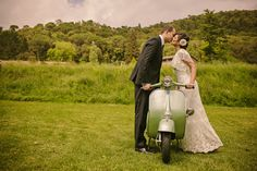 The best of Spain and Italy: A beautiful Catalonian country setting, an Aperol Spritz station and San Pellegrino lemonade bar. Vespa Wedding, Wedding Day, Wedding Ceremony, Spain Country, Lemonade Bar, Planners, Scooter Design, Spanish Wedding, One Fine Day