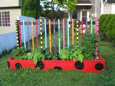 If you're trying to get your children to eat more greens, try this colourful idea for a raised garden bed. Use safe timber for this project & paint in non-toxic colours. The verticals are for climbers like tomatoes. Great for school or home. More tips on safe containers for food gardens @ http://themicrogardener.com/choose-safe-containers-for-growing-food/ | The Micro Gardener
