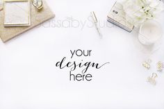 White Gold Desk Mockup / Styled Stock Photography / Sassaby Studios