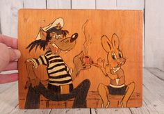 Nu pogodi wooden picture, Soviet vintage wooden picture, Cartoon heroes wolf and rabbit, Funny rabbit wolf Nu Pogodi animation USSR era