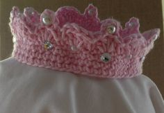 Pink Crochet Crown Headband With Pearl and Clear Jewel Beading. Baby Princess Crown.