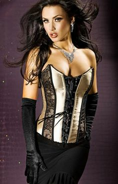 75139dc597 Seductive Gold Satin Corset With Twin Black Lace Panels