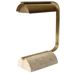 Brass and Travertine Desk Lamp, Mid-Century Modern, Italy For Sale at L And Light, Brass Lamp, Desk Lamp, Room Lamp, Table Lamps, Bed Room, Light Table, Modern Lighting, Light Fixtures