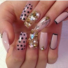 Polka Dot & Rhinestone Square Tip Acrylic Nails