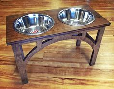 3 Qt 16 Double Elevated Pet Bowls - Sellwood Design Looking for an attractive elevated pet feeder for your canine companion? Woodin You has been