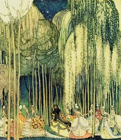 """Purple painting by Anna Taut juxtaposed with Kay Nielsen ~ The Twelve Dancing Princesses ~ from In Powder and Crinoline ~ Hodder & Stoughton ~ 1913  """"The princesses on the way to the dance."""""""