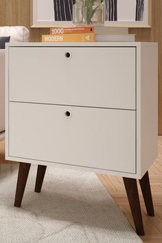 White Taby 2-Drawer Nightstand