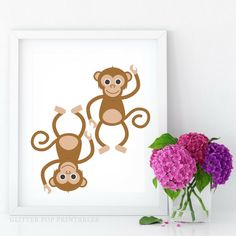 A personal favorite from my Etsy shop https://www.etsy.com/listing/496333398/monkey-wall-art-nursery-printable-wall