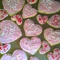 Iced sugar cookie conversation hearts <3