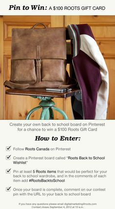 Pin to Win: Back to School Create a board called 'Roots Back to School Wishlist' and pin at least 5 Roots items for a chance to win a Roots gift card. don't forget to comment on this pin with the URL to your back to school board. Create A Board, Fall Wardrobe, Don't Forget, Back To School, Roots, At Least, Bath, Woman, Reading