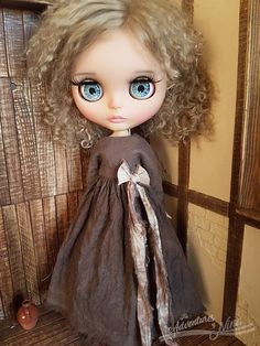 Vintage Touch Hand-dyed dress for Blythe adorned with ribbon