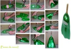 Turn plastic bottles into a broom! Clever!