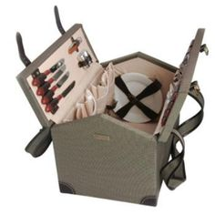The Picnic Parlor - Wooden Picnic Basket for 4, $199.99 (http://picnicparlor.com/wooden-picnic-basket-for-four-1/)