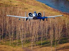 USAF 74th FS Fairchild A-10 Thunderbolt II in low flight path.