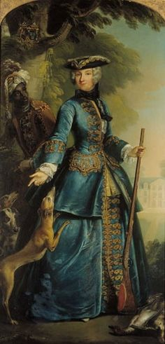 Portrait of an unknown lady in a blue riding habit