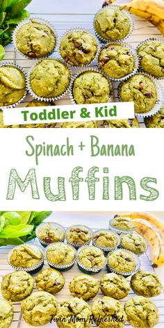 Apr 2020 - An easy to make spinach and banana muffin recipe that's toddler and kid-friendly. These green are muffins packed with spinach and taste delicious! An easy snack or breakfast idea for kids, toddlers, and the whole family. Easy Snacks For Kids, Healthy Toddler Meals, Kids Meals, Healthy Snacks, Toddler Food, Healthy Kids, Snacks For Toddlers, Toddler Dinners, Toddler Lunches