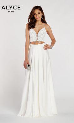 65c020e4b8 Alyce Paris Style 60321 Flowy Diamond Lace Satin Chiffon Two Piece Dress  With V Neck