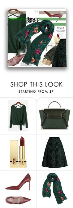 """""""Dark green"""" by atie-212 ❤ liked on Polyvore featuring Yves Saint Laurent, Rochas, Gucci, WithChic and Panacea"""