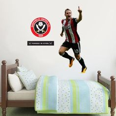 Shop Sheffield United FC Football Gifts, Wall Stickers, Murals, Art & Merchandise online in store. SUFC Bedroom Decor, better than posters & wallpaper Sheffield United Football, Sheffield United Fc, Mural Wall, Wall Art, Football Bedroom, Bedroom Furniture, Bedroom Decor, Entertainment Wall, Football Stickers