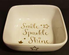 Smile Sparkle Shine porcelain ring dish....white porcelain with metallic gold vinyl lettering and stars by KimmsHomeDecor on Etsy