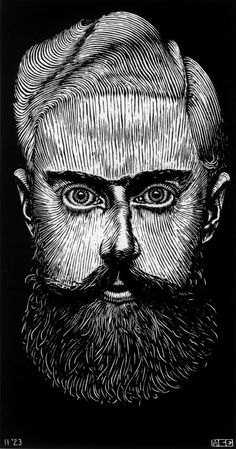 M. C. Escher  Self portrait. AKA. JAMES FARR SELF PORTRAIT!!!