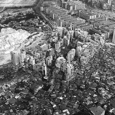 An aerial view from the south-west in 1975, from Kowloon Walled City