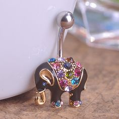 Crystal 18K Gold Plated Elephant Piercing Navel Belly Button Ring