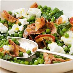 Pea, pancetta, feta and mint salad x